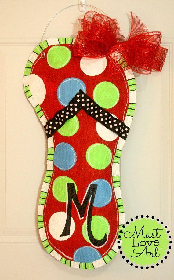 Flip Flop Burlap Door Hanger Decoration HUGE by MustLoveArtStudio, $35.00. Flip Flop Burlap Door Hanger Decoration HUGE 2 ft - Spring Summer Polka Dots - Mother's Day