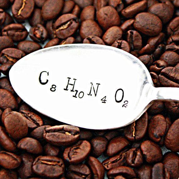 Coffee/science geekery at its finest-- personalised Coffee molecule Spoon: https://www.etsy.com/listing/156129006/caffeine-molecule-hand-stamped-coffee