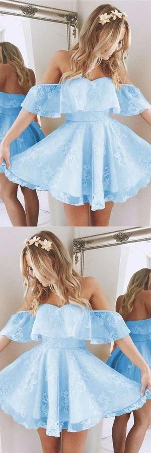 Baby Blue Homecoming Dresses,Short A Line Prom Dresses,Ruffles Shoulder Dress,Cute Party Dress,Summer Dresses,MB 456