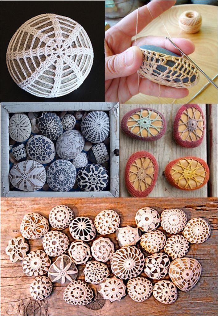 Dica de hoje: Pedras e crochê para decorar! pedras_crochê –