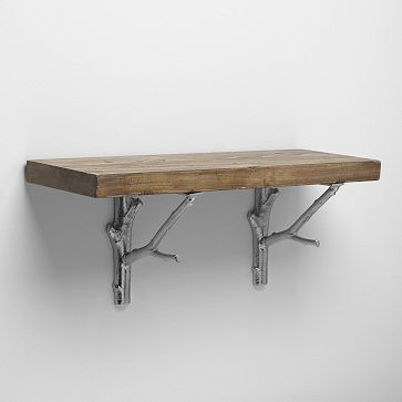 I think I like this one better. Reclaimed Wood Shelf + Silver Branch Brackets #WestElm