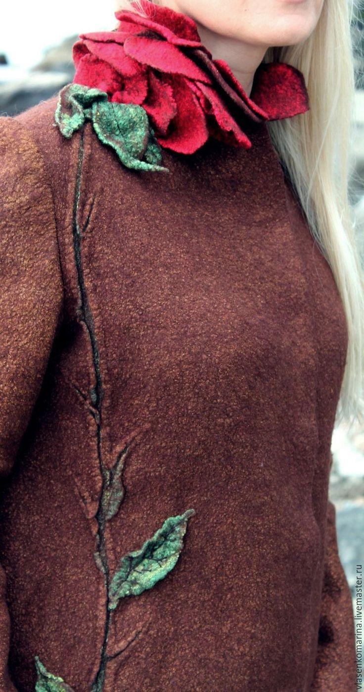 Купить Жакет валяный Сладкий аромат роз 2 - коричневый, цветочный, жакет женский