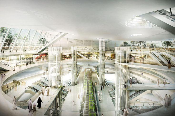 gerber architekten create dune-shaped olaya metro station:glass tubes enclose the multi-level network @designboom xoxo