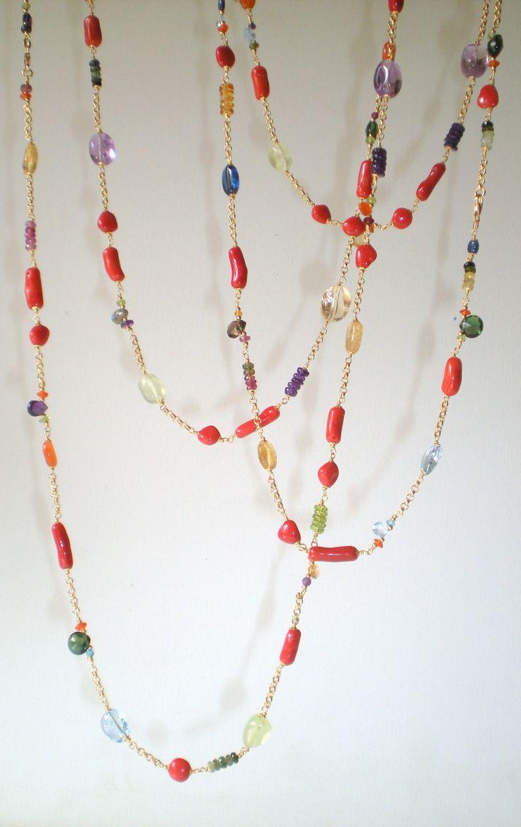 18K gold - gems - coral www.cinziarusso.it