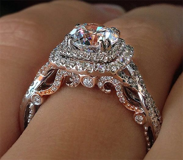 Verragio Insignia White and Rose Gold Double Cushion Halo Engagement Ring.