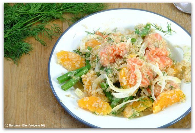 Quinoasalade met zalm en sinaasappel