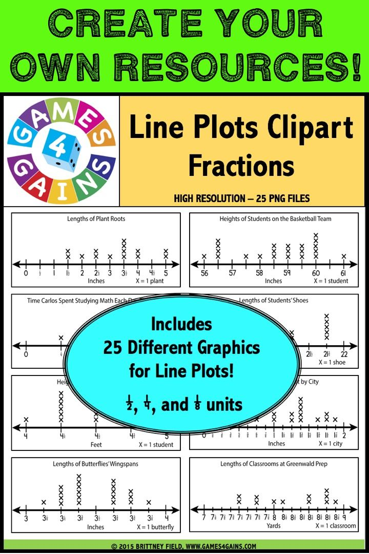 Line plots, line plots, line plots! This 25-image set includes everything you need to create lessons, center activities, task cards, assessments, and more for reading and interpreting line plots. This line plots set includes 25 different line plots using a variety of fraction scales (by 1/2, 1/4, and 1/8). No two line plots in this set are the same. This set is perfect for teaching Common Core standards for 3rd, 4th, and 5th grade, which all require fraction scales.