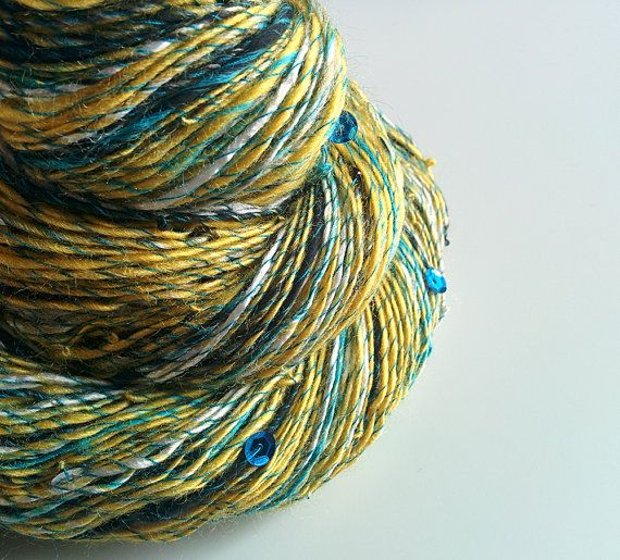 Vegan Art Yarn  DAISIES' VICTORY  Handspun from by WeirdAndTwisted, $59.00