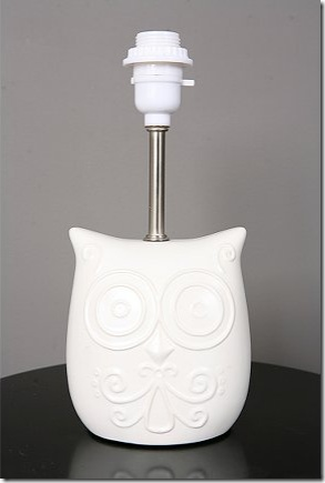 owl lamp so cute maybe we could add a colored shade...may gray or yellow chevron or a white one with a little fun fringe :)