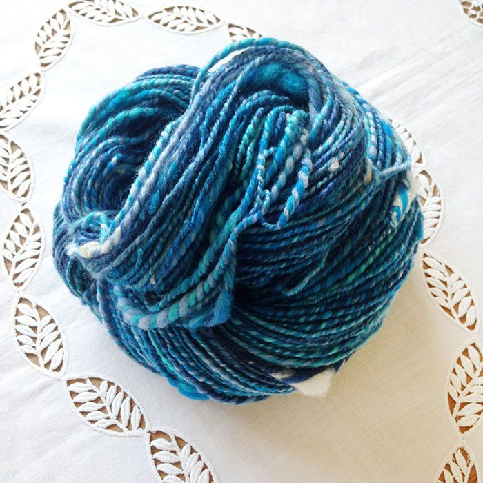 Ocean Wave Handspun OOAK Art Yarn