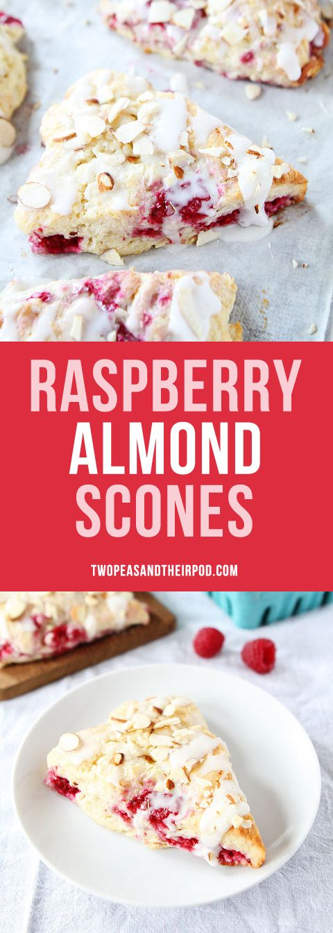 Raspberry Almond Scones with fresh raspberries, a sweet almond glaze, and sliced almonds. Perfect for breakfast or brunch. The best scone recipe!