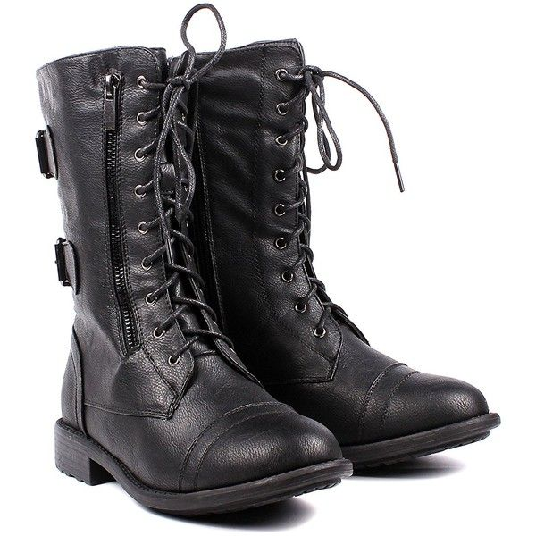 Fashion Buckle Lace up Womens Combat Military Boots Zip Faux Leather... ❤ liked on Polyvore featuring shoes, boots, lace up combat boots, army boots, black lace-up boots, military boots and lace up boots