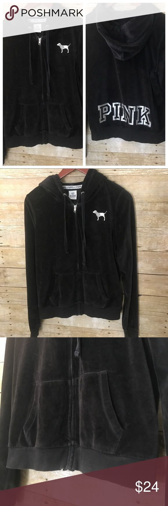VS PINK Black Velour Zip Up Hoodie SZ M Victoria's Secret PINK velour zip up track suit hoodie in black with silver puppy logo on front and PINK in solve on back. Some minor wash wear on hem band as pictured, otherwise good condition, plenty of life left! PINK Victoria's Secret Jackets & Coats