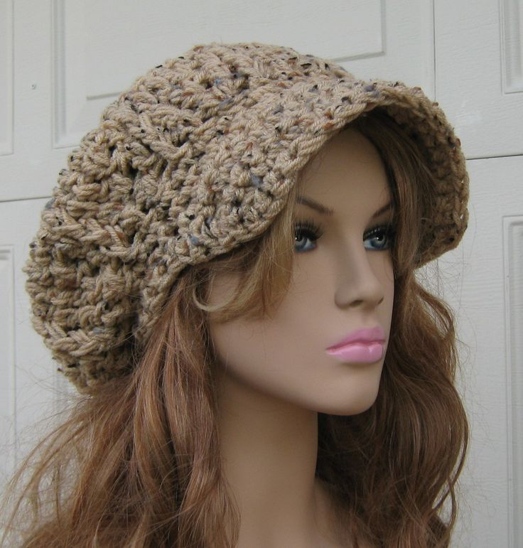 Newsboy hat, Tan Rustic Tweed Cap, Visor Tam Hat, Slouchy Beanie hat, Newsboy Beanie Billed hat, crochet cap