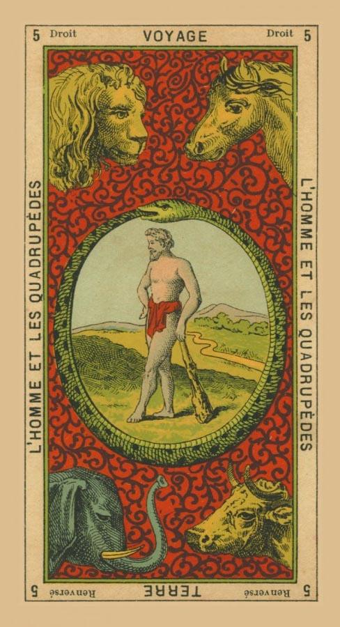 5. Droit. Voyage. L'Homme et les Quadropédes. Reversé. Terre. Deep Books Tarot Blog: BOOK OF THOTH ETTEILLA TAROT