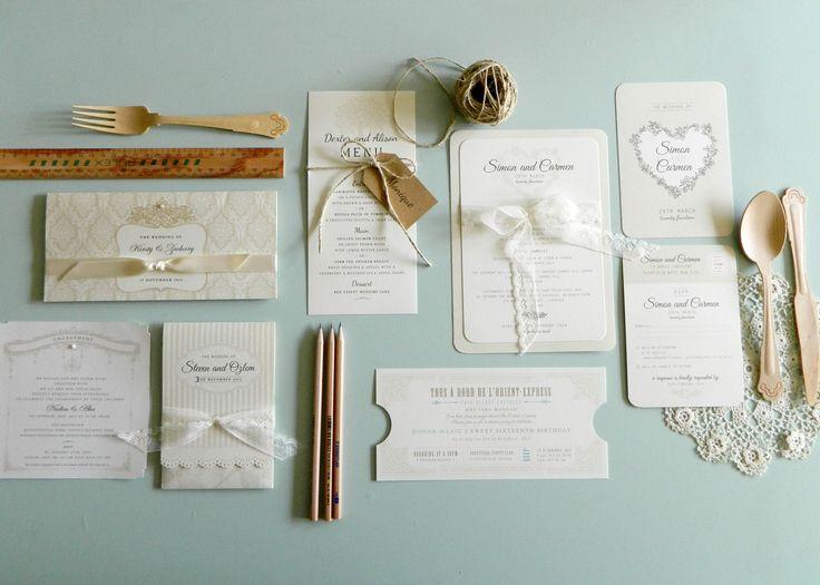 Cream neutral invitations by LPP