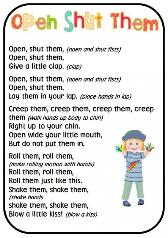 Fine motor finger and hand rhymes
