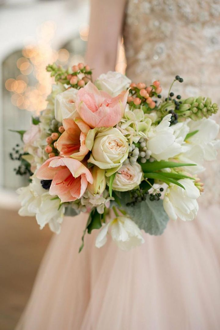 Blush Amaryllis, Tulip, Hydrangea, and Berry Winter Wedding Bouquet ~ we ❤ this! moncheribridals.com