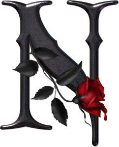 Abecedario gótico adornado con rosas. Letra N mayúscula.