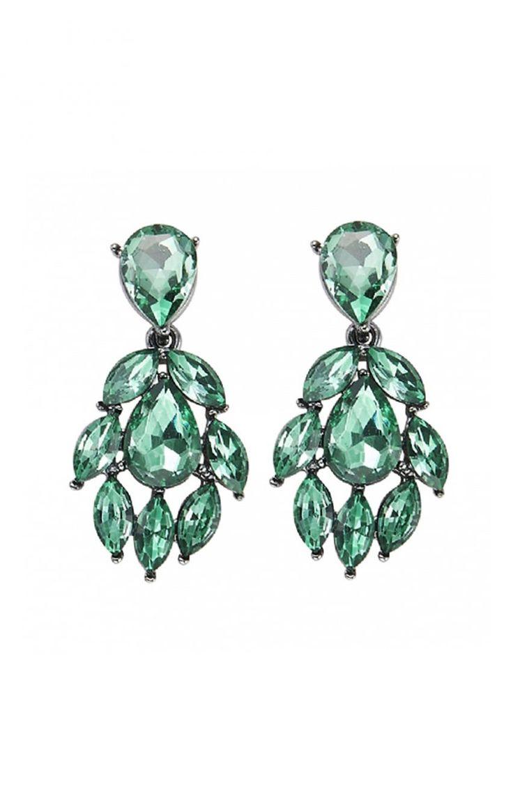 Eleganckie zielone kolczyki - Modne Duże Rozmiary