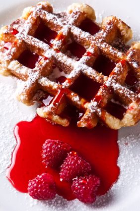 Food Storage Recipe: Peanut Butter Waffles with Raspberry Syrup: Breakfast Brunches, Desserts, Cooking Food, Yummy Food, Rai Liege, Liege Waffles, Raised Liege, Food Recipe, Highlights