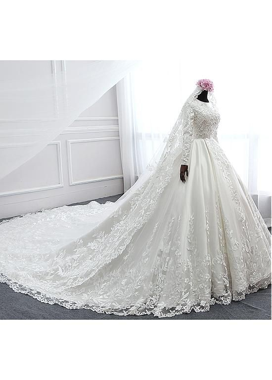 Buy discount Vintage Tulle & Satin Jewel Neckline Ball Gown Wedding Dresses With…