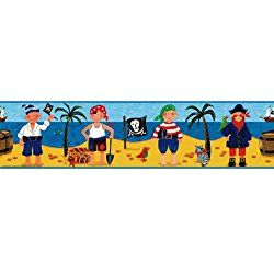 Pirate Treasure Hunt Peel & Stick Nursery Wallpaper Border