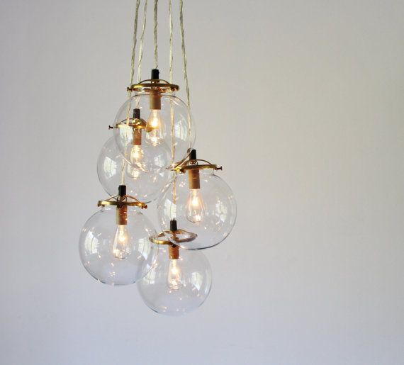 Glass Globe Cluster Chandelier,  5 Clear Hanging Orb Pendants
