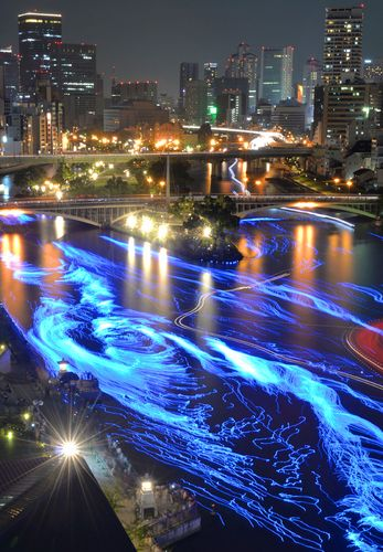 LED Illuminated River. Osaka, Japan