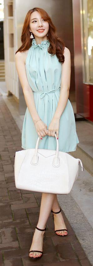 Luxe Asian Korean Women Fashion Volume Holter Mint Dress