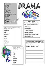 printables drama worksheets english teaching worksheets