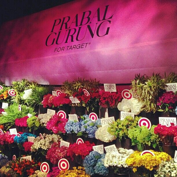 A step-and-repeat of live flowers at #PrabalForTarget launch in #NewYork. Photo by @Jim Schachterle Schachterle Schachterle Shi
