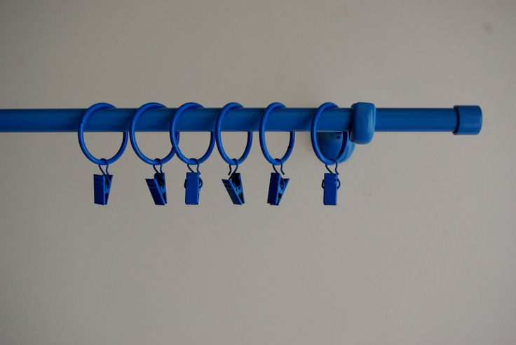 Blue curtain pole set. PERSONALISE and be the designer of your own home by chosing a different colour of your curtain ring clips!