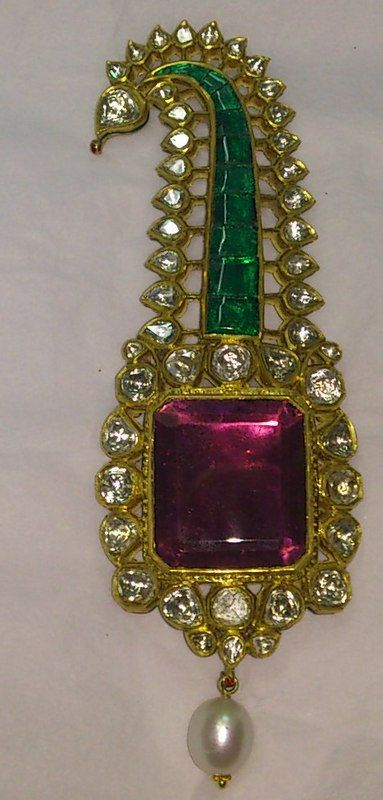 Antique Turban Pin Encrusted With Old-Cut Diamonds, Rubies, Emeralds, Multicolored Enamel And A Pearl,  Set In 20k Solid Gold Ruby Gold - The House Of Mahaaja Of Rajasthan   c. 1900-1909