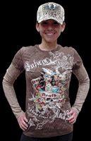 Bulzeye Love To Death Layered Girls Longsleeve T-Shirt - Women's Apparel Deals