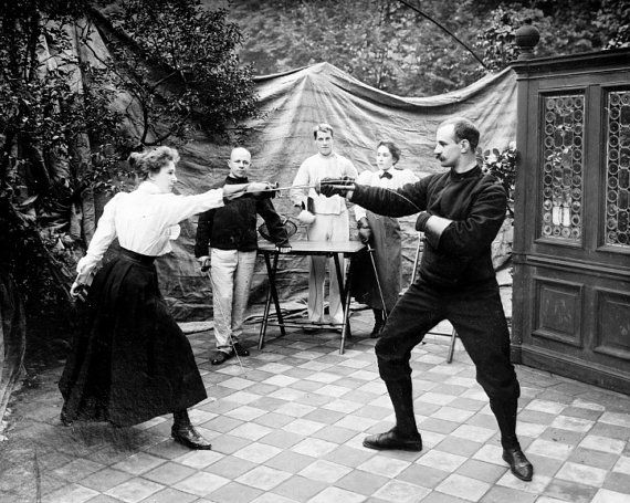 Turn of the Century Fencing Lesson by SilverbanksPictures on Etsy, $6.00