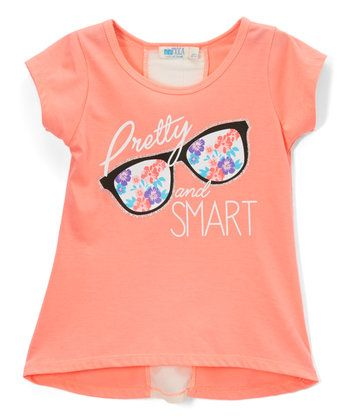 Neon Peach 'Pretty and Smart' Tee - Toddler & Girls