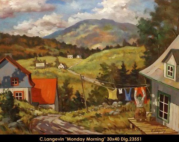 Claude Langevin original oil painting on canevas #claudelangevin #art #artist #canadianartist #quebecartist #originalpainting #oilpainting #countryvillage #summerscene #balcondart #multiartltee