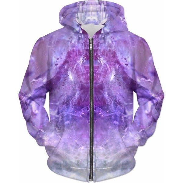 Amethyst Unfolded Hoodie ($80) ❤ liked on Polyvore featuring tops, hoodies, purple hooded sweatshirt, purple hoodie, purple hoodies, hooded pullover and hooded sweatshirt