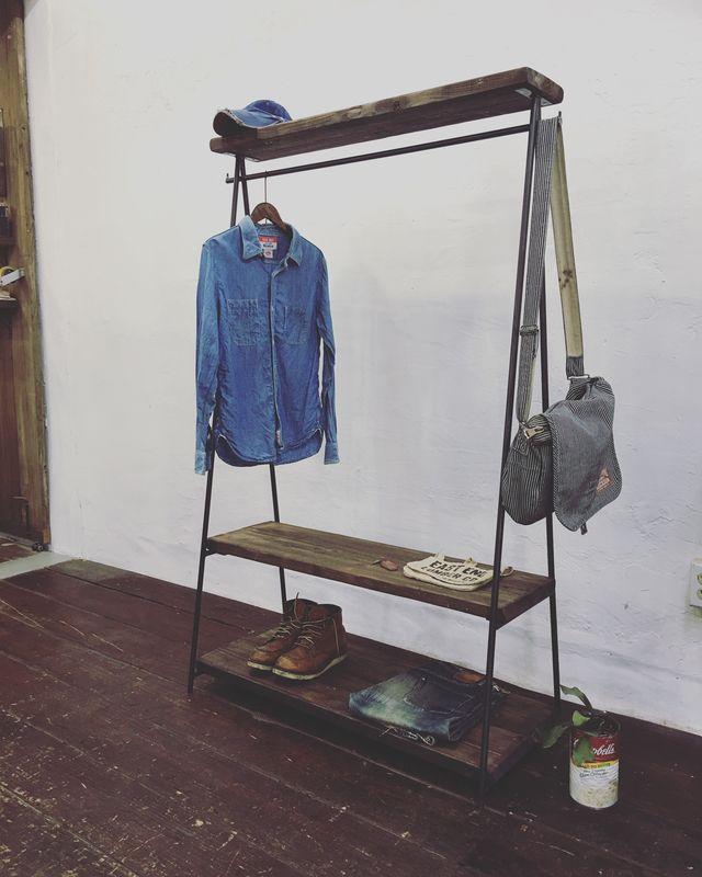 数量限定 2段棚 ハンガーラック アイアン アンティーク 古材 収納棚