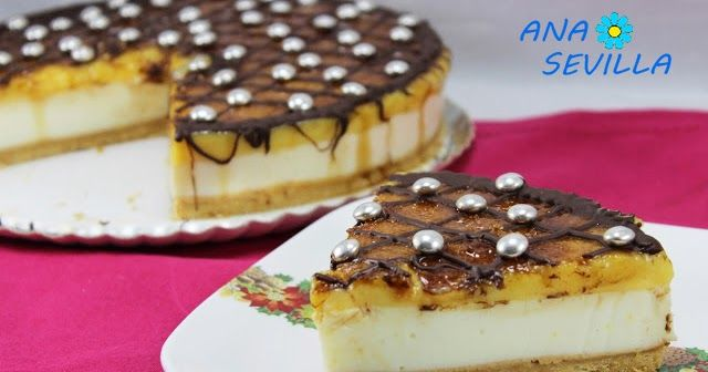 Tarta de ricotta y yema tostada (Sin horno) cocina tradicional.