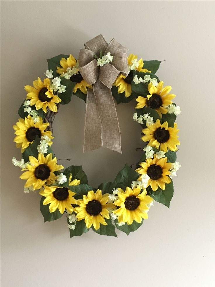 Beautiful Sunflower Wreath With Burlap Bow For My Sunflower Themed Kitchen!  My MIL Made This