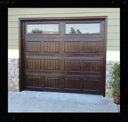 Mahogany Gel Stain Garage Doors Looks Like Faux Wood