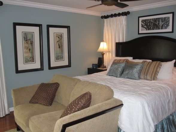 Blue and brown master bedroom bedroom makeover for Brown and blue bedroom ideas
