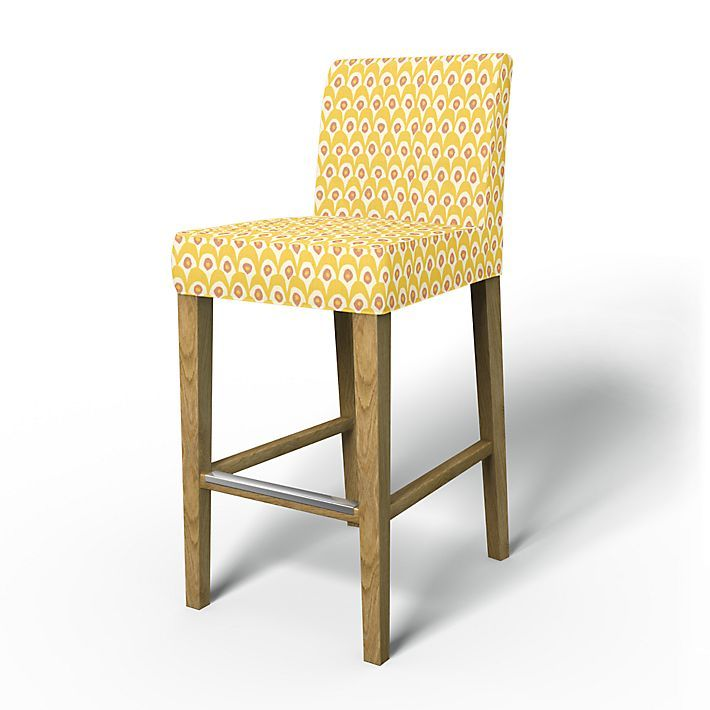 Henriksdal, Chair Covers, Bar stool, Regular Fit using the fabric Circus  White/Yellow