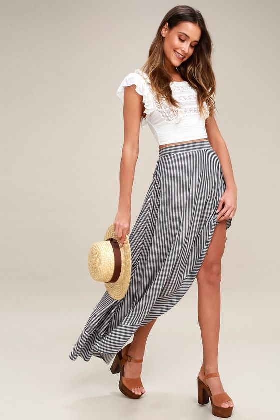 King Harbor Burgundy and Navy Blue Striped Maxi Skirt 2