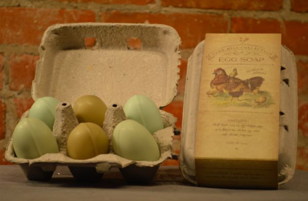 Scented Egg Shaped Soaps displayed in Cute 6 Egg Carton
