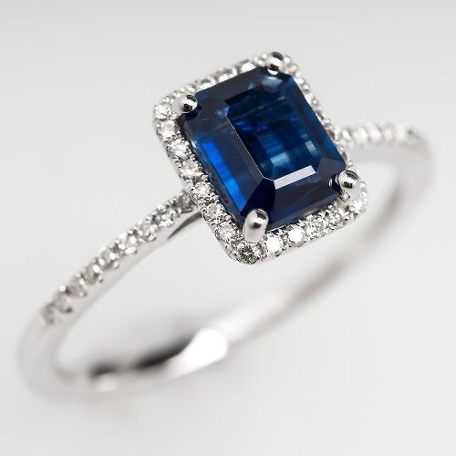 Emerald Cut Sapphire Diamond Halo Engagement Ring 18K White Gold
