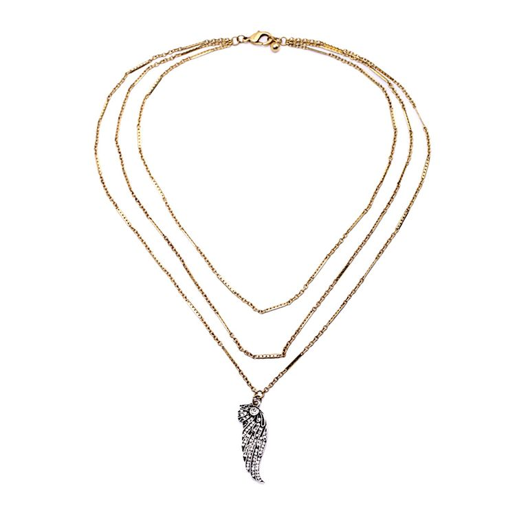 "Clo Clo London - Taavi. Three-layered necklace with washed-out wing embedded with mini faux pearls. Length: 54cm (21.3"") Pendant length: 4cm (1.6"")"