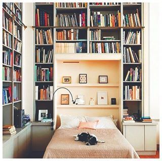 This actual dream of a bedroom.   26 Photos That Will Give You The Most Intense Bookshelf Envy